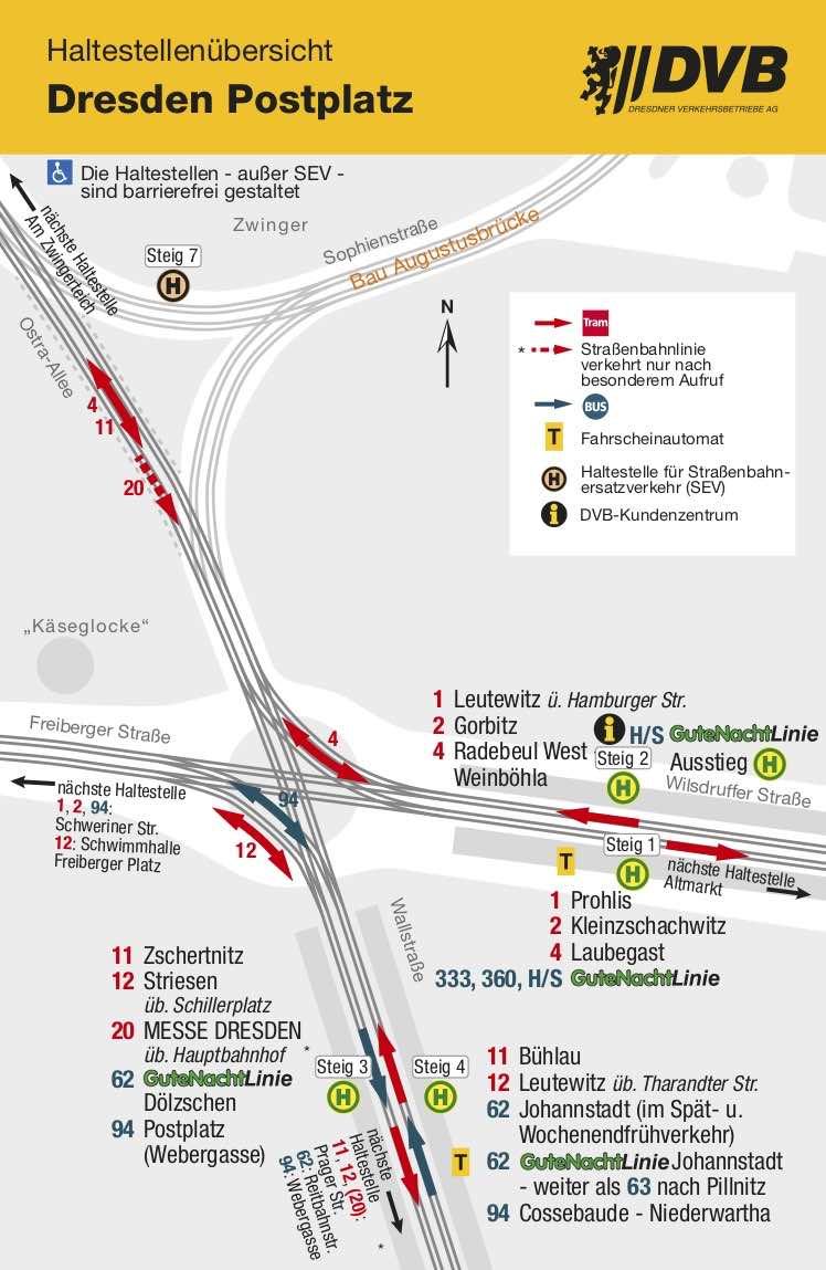 Postplatz Dresden - Haltestellenübersicht