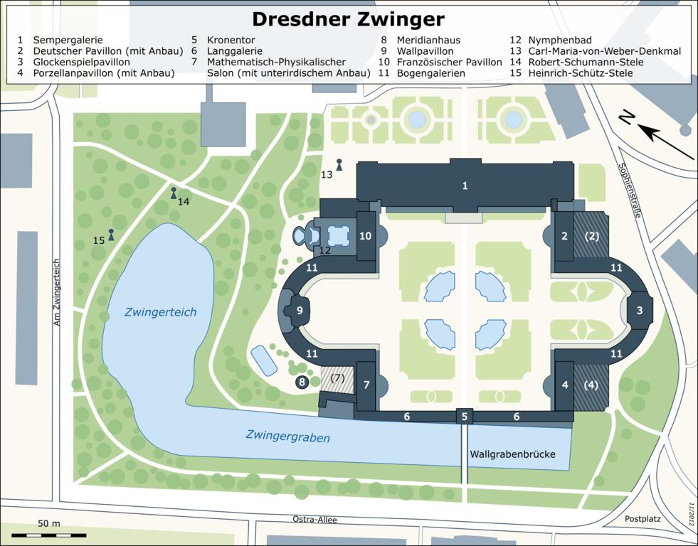 Lageplan der Sehenswürdigkeiten im Zwinger Dresden