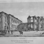 Das Opernhaus und der Zwinger zu Dresden nach dem Maiaufstand 1849. Kupferstich von W. Bässler, Staatliche Kunstsammlungen Dresden, Kupferstich-Kabinett