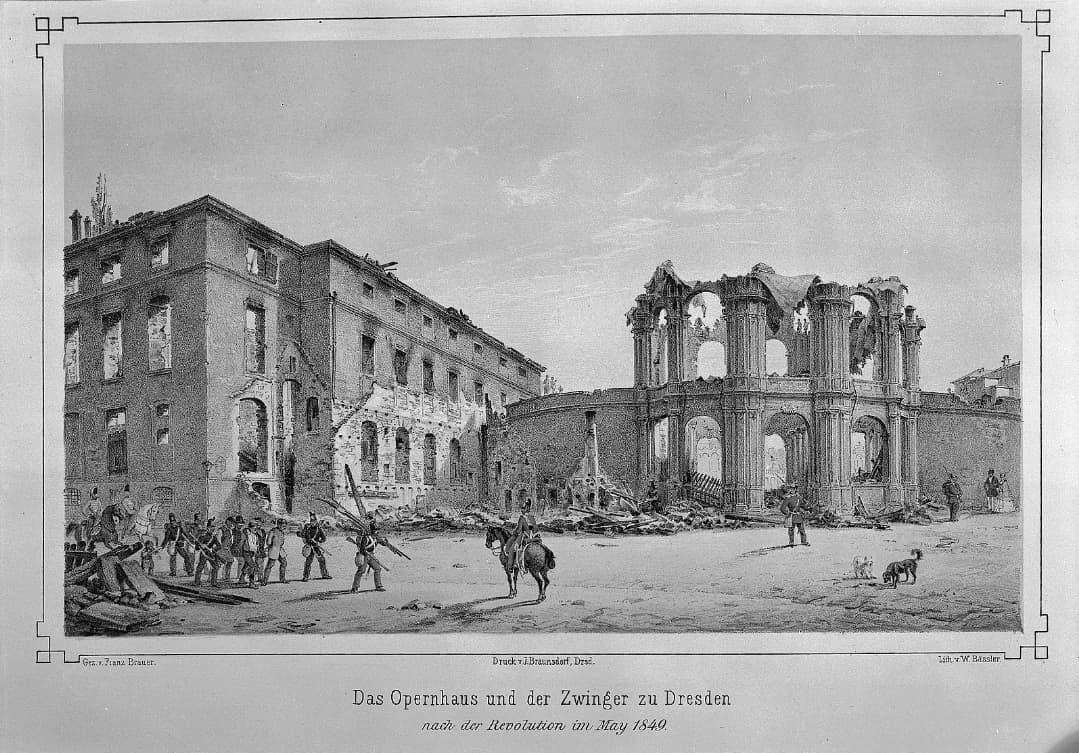 Opernhaus und Zwinger beschädigt durch die Kämpfe 1849