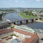 Augustusbrücke Dresden - Blick vom Turm der Frauenkirche über die Elbe Richtung Dresden Neustadt