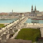 Augustusbrücke Dresden mit Blick zur Altstadt etwa im Jahr 1900