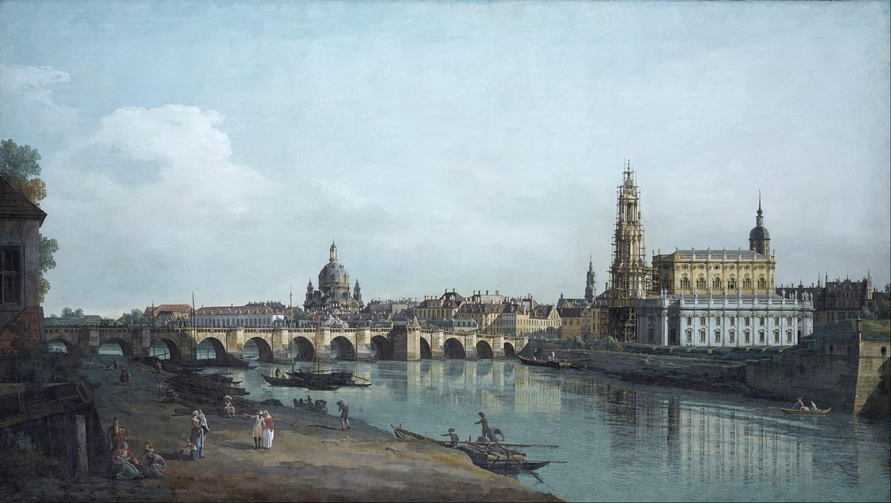 Canaletto - Dresden vom rechten Elbufer aus gesehen - mit der noch im Bau befindlichen Katholischen Hofkirche